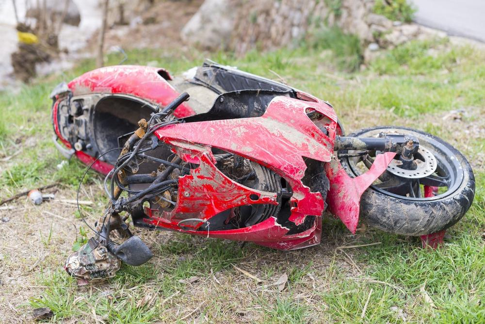 damaged motorcycle after motorcycle accident